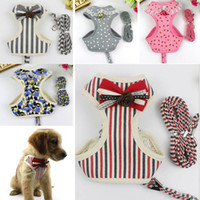 Wholesale new cat leash harness - Mesh Dog Leashes With Vest Reflective Bow Tie Cat Pet Leash Harness Suit Chest Collar Accessores Supplies WX9-741