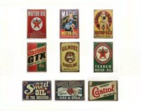 Wholesale Tin Signs Free Shipping - Free shipping Motor Oils Garage Castrol Gilmore Gasoline Vintage sign Decorative Retro Metal Poster Tin Sign
