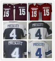Wholesale College Sport Teams - Men's Mississippi State Bulldogs #15 Dak Prescott College Football Stitched Embroidery Dallas Team #4 Mens Sports Pro Jerseys free shipping