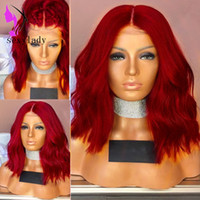 Red Natural Wave short lace front wig synthetic hair Heat Resistant Hand Tied Cosplay Party bob Wigs For Women Masquerade Makeup