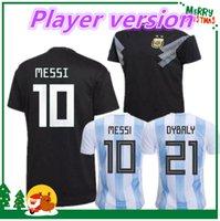 Wholesale Messi Football Player - Player version 2018 Argentina Soccer Jersey 2019 Argentina home away Jersey DYBALA soccer Shirt Messi Aguero Di Maria Mascherano football