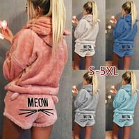 Wholesale Two Piece Sleepwear Women - New Women Fashion Solid Color Warm Winter Pajamas Set Two Piece Cute Cat Pajamas Hoodie Sleepwear Plus Size