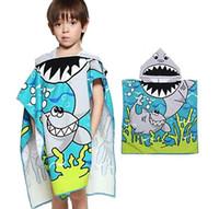 toallas de baño para niños al por mayor-Niños de Dibujos Animados Capa Con Capucha Toalla de Playa de Microfibra Niños Niños Natación Toalla de Baño Manta de Algodón Super Absorbente Capa toalla de los niños