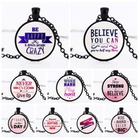 Wholesale happy woman - 2018 Happy Believe Never Give Up Letters Inspired Glass Cabochon Necklace Pendants Fashion Jewelry Gift fot Women BY DHL 162598