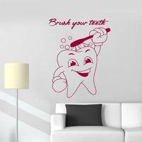 lindo papel tapiz de baño al por mayor-Lindo diente calcomanía de pared Extraíble Wallpapers para baño decoración Cepille sus dientes Cotizaciones de pared de vinilo pegatina