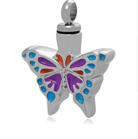 bijoux à papillon achat en gros de-La crémation en gros peut être ailé collier pendentif papillon pour les cendres d'un bijoux funérailles mini animaux de compagnie