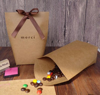 Wholesale wedding thank bags for sale - Group buy Hot Festive Upscale Black White Bronzing quot Merci quot Candy Bag French Thank You Wedding Favors Gift Box Package Birthday Party Favor Bags