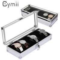 алюминиевый корпус для хранения оптовых-Cymii Watch Box Case 6 Grid Insert Slots Jewelry Watches Display Storage Box Case Aluminium Watch Jewelry Decoration