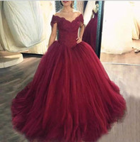 Wholesale evening gowns tail - Beautiful Wine Red Ball Gown Quinceanera Dresses Off the Shoulder Appliques Tulle Tails Evening Gowns Formal Prom Dresses