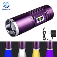 Wholesale Purple Nature - Rechargeable Torch 8000 Lumens CREE-Q5 x 4 Fishing flashlight blue purple yellow white light 12 models Use DC charger
