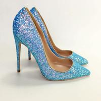91626cbee18cef NEUES Freies Verschiffen blau Glitter glänzend heißen Verkauf Schuhe spitz  Zehen High Heels Schuhe Pumpen