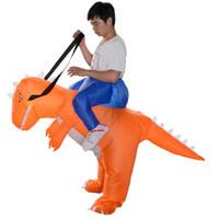 trajes dino venda por atacado-Frete grátis Adulto T-rex dinossauro inflável Rider Costume Carry Me Fanny vestir Halloween Suit laranja Dino mascote trajes