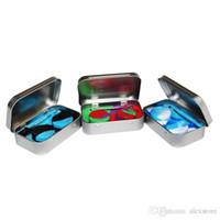 ingrosso cera per il metallo-Kit di stoccaggio in silicone 4 in 1 con set 2 pezzi 5ml Contenitore di cera siliconica Contenitore in acciaio Base Argento Dab Dabber Tool Custodia in metallo Custodia portatile