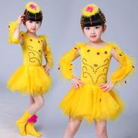 Wholesale latin ballroom costume girls - Yellow Children Performance Ballroom Dance Dress Kids Girls Dancewear Skirts Latin Stage Dance Costume Girls Tutu Dance Costumes