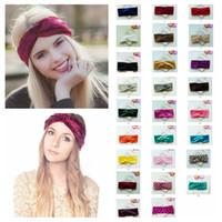 Wholesale velvet elastic headbands - 26styles Women Twist Knot Wrap Headband Velvet Soft Elastic Turban Head Casual lady Princess hair accessories dot headware FFA536 120PCS