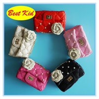 Wholesale girls pink purse for kids - BestKid DHL Free Shipping! Children's Flower Pearl Shoulder Bags Kids Small Leather Purse Girls Mini Wallets for party Toddler new bag BK022