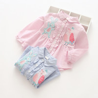 Wholesale kids blouse embroidery - girl clothing New Girls Kids shirt turn down collar long Sleeve stripped print Cartoon Rabbit Embroidery Design shirt high quality cotton