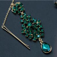 зелёные серьги бижутерия оптовых-Women Belly Dance Bollywood Headpiece Earrings Gem Green Plated Jewelry Set  Dance Costume Accessories