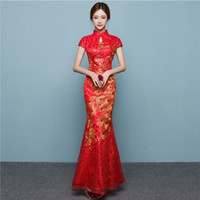 Wholesale robe qipao online - Red Phoenix Fish Tail Luxury Cheongsam  Traditional Chinese Woman Dress Qipao 3a07be0a8