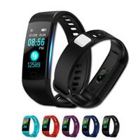 contadores de calorías ver al por mayor-Y5 Smart Bracelet IP67 Reloj impermeable Ritmo cardíaco con rastreador de actividad física Contador de pasos Monitor de actividad Contador de calorías para teléfonos inteligentes