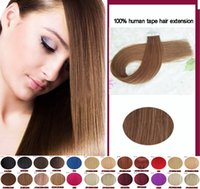 Wholesale Online Human Hair Extensions - Online sales Charismatic #8 Light Brown Tape Hair Extensions Skin Weft Tape Hair Peruvian Straight Best Quality Remy Human Hair
