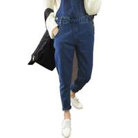 calça romper denim venda por atacado-FDWERYNH 2018 Comprimento Outono Denim Mulheres Macacões solto vintage cheio Pants Mulheres Casual Feminino Romper macacões Streetwear