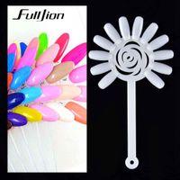 color acrylic tips Canada - Fulljion 10Pcs False Nail Art Tips Color Card Practice Display Board Buckle Ring UV Gel Polish Training Palette Manicure Tools