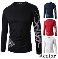 Wholesale men slim fit casual t shirts resale online - men Tattoo Dragon Print T Shirt Long Sleeve Clothing Casual Slim Fit O neckTee men fashion casual T Shirt KKA4227