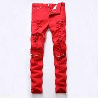jeans rasgados para mujer algodón al por mayor-Nuevo Dropshipping Rojo Blanco Negro Ripped Denim Knee Hole Zipper Biker Jeans Hombres Slim Skinny Torn Jean Pants Cotton Women Jeans