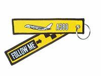 ingrosso portachiavi portachiavi-A320 A340 A380 Airline Pilots Seguimi Embroidery Airlines Aviation Portachiavi Portachiavi Tag portachiavi 13 x 2,8cm 100 pezzi