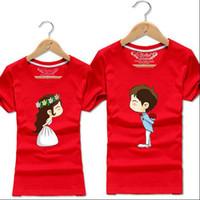 sevimli çiftler giysileri toptan satış-Kore Sevimli Karikatür Kadın T-Shirt Eşleşen Çiftler Kıyafetler Giyim T Shirt Severler Giysileri Için Kısa Kollu Çift Tee Büyük Boy