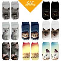 e06f3f0a42b1 1 Pair Fashion 3D Harajuku Cat Printed Short Socks Unisex Women Men Casual  Low Cut Ankle Socks 8 Styles Hot Sale