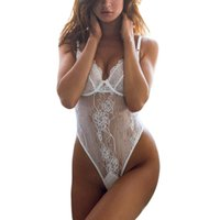 Wholesale Teddy Underwear White - 2 Color Sexy Teddy Lingerie Women Hot Whit Lace Women Lace Floral Sexy Soild Cup Underwear Bra Fashion Clothing Intimates