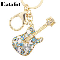 Wholesale Guitar Red Blue - beijia Unique Guitar Crystal Rhinestone Keychains Purse Bag Buckle HandBag Pendant For Car Keyrings Women Key Chains K255