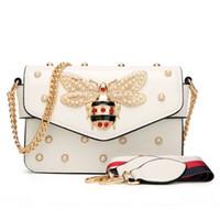 Wholesale white pearl handbag resale online - New Women Handbag Lovely Rhinestone Chain Bag Elegant Woman Bee Pearl Decorative Leather Shoulder Bag Women Bag Small Fresh Pearl Spring
