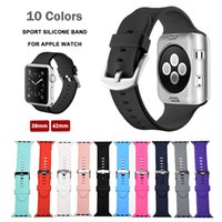 Wholesale Apple Rubber Band - Sport Silicone Watch Strap for Apple Watch Band 42 Mm 38 Rubber Bracelet Wrist Band Men for iwatch 1 2 with Adapter