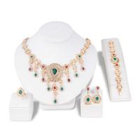china jewelry crystal bracelets venda por atacado-Cor de ouro de Cristal Colar Brinco Pulseira Anel Set Rhinestone New retro estilo nacional borla Vestido de Conjuntos de Jóias 5 Pcs Para As Mulheres