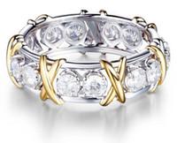 natürliche weiße saphirschmuck großhandel-925 massiv sterling silber natürlichen edelstein weißen saphir diamant ewigkeit stapelbar band ring hochzeit verlobung edlen schmuck