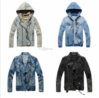 Wholesale Yellow Denim Jacket Men - Hot Sale Luxury Designer Jacket Men Slim Warm Denim Motorcycle Biker Winter Jackets Coat Masculina Plus Size M-XXXL Windbreaker