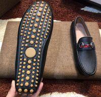 Wholesale wedding shoes blue flats - [Original Box] Luxury Fashion Mens Gommino Dress Casual Party Loafers Shoes Cowskin Single Shoe Slip On Wedding Pumps Black Size38-46