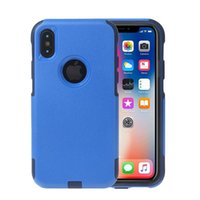 Wholesale cell phone slip case - Shockproof Dual Layer Ultra Thin TPU Hybrid Rugged PC Slim Hard Back Case Non-slip Cover For iPhone X Commuter Armor Cell Phone Cases