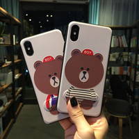 Wholesale Pattern Houses - High Quality Luxury Hidden Bracket Housing Back Cover Cartoon Brown Bear Pattern Kickstand Phone Case for iPhone X 6 7 8 Plus