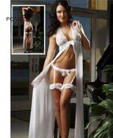string xxxl venda por atacado-Fcare preto vermelho branco plus size S M L XL 2XL XXXL vestido + g corda erótica sexy lingerie rendas sexy lingerie quente Y1892909
