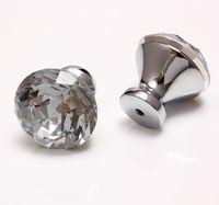 Wholesale Furniture Handles Crystal - (150 pcs lot) 25MM Diamond Clear Style Rhinestone Crystal Knobs Furniture Door Drawer Pull Handle