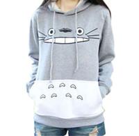Wholesale Cartoon Characters Sweaters - Totoro Cartoon Printed Long Sleeved Sweater Female Hooded Hoodies Coat Women Cute Hoodies