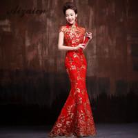 vestidos de bordado chino al por mayor-Bordado rojo Cheongsam moderno Qipao largo vestido de novia chino mujeres vestido de noche tradicional Oriental elegantes vestidos de fiesta