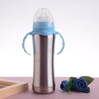 pezones botella de leche al por mayor-Botella de lactancia de acero inoxidable de 10 piezas con niple de silicona, 8 oz, taza / 240 ml de aspiración, aislado, alimentadores de leche para bebés, botellas para bebés