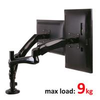 soportes de medida al por mayor-27 pulgadas 9 kg de gran calibre de movimiento completo prensa de aire puntal de gas doble lcd montaje de mesa de tv 2 monitor soporte de pantalla de escritorio Led soporte