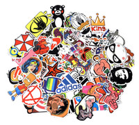 Wholesale black poster art - 100 Sticker Blackboard Decals Posters Wall Paster for Laptop Cars Bicycle Luggage Bumper Hippie Bomb Waterproof Tags No Duplicate Random