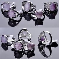 anéis de pedra de ametista venda por atacado-30 pcs Moda Jóias Anel de Pedra Natural Ametista Anéis de Gem Moda Anéis para Festa de Prata Anéis de Pedras Preciosas jóias